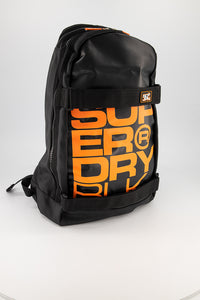 Superdry Men's Mega Ripstop Tarp Backpack In Black/Orange - Labels4Less