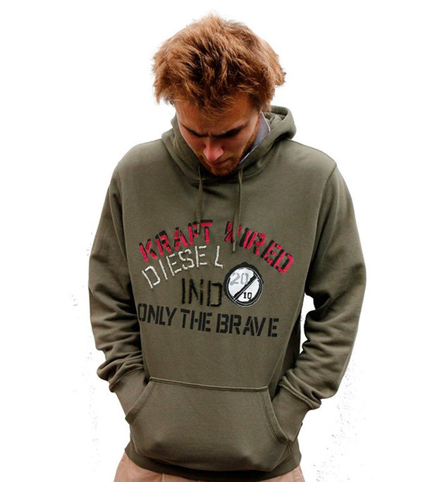 "Diesel Men's ""Only The Brave"" Ind Hoodie In Green - Labels4Less"