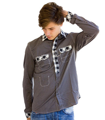 Diesel Men's Snanos Camicia Shirt In Grey