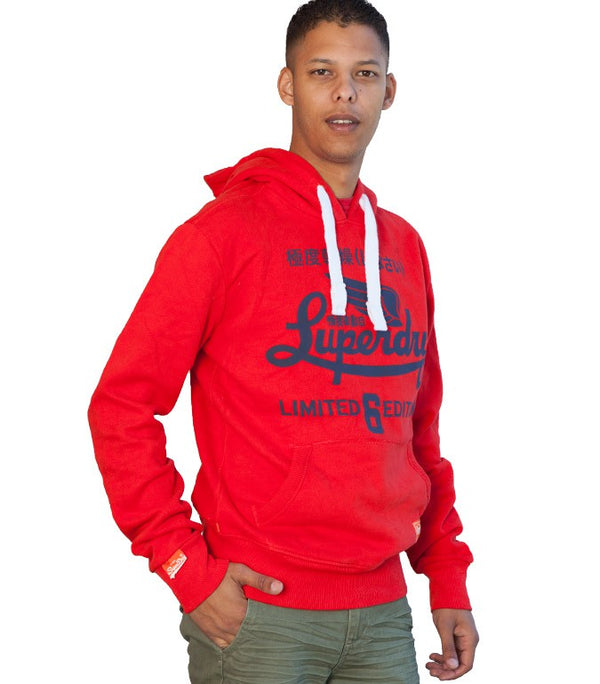 Superdry Men's Limited 6 Edition Hoodie In Red - Labels4Less