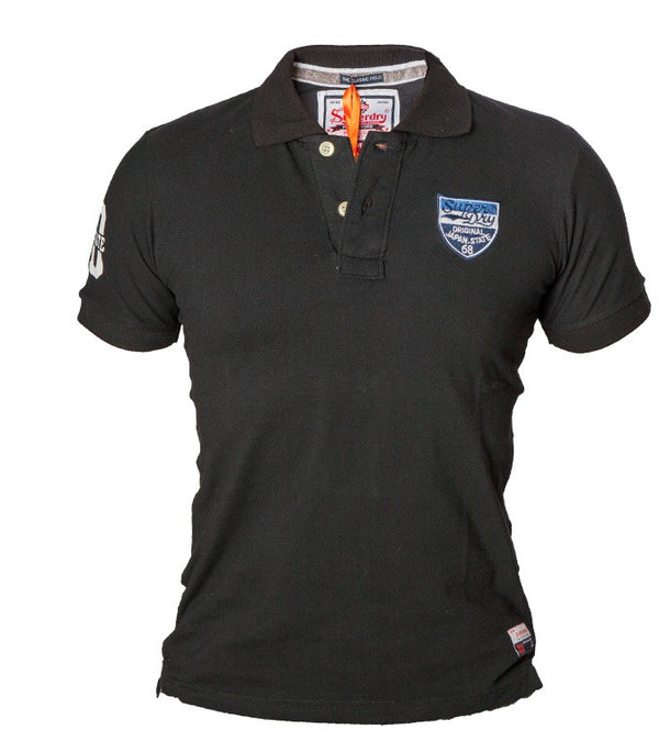 "Superdry Men's ""The Classic Polo"" Golfer In Black - Labels4Less"