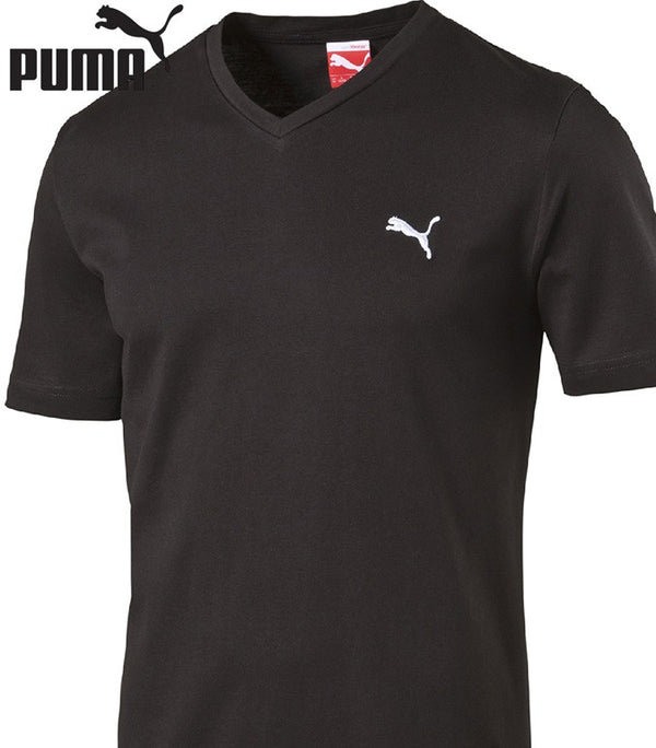 Puma ESS V-Neck Tee black-white - Labels4Less