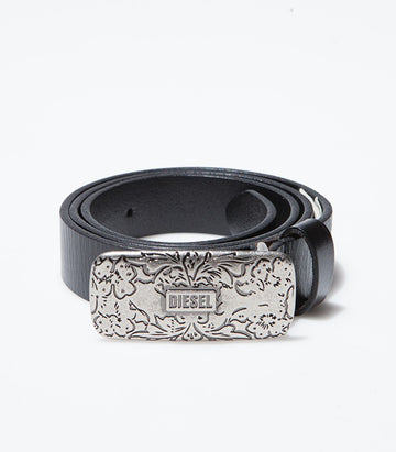 Diesel Black Leather Belt BE2036