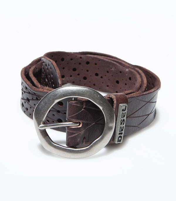 Diesel Men's Leather Belt BE2062 In Coffee Brown - Labels4Less