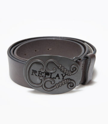 Replay Leather Grey Belt BE1601