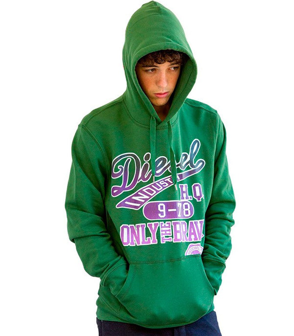 "Diesel Men's ""Only The Brave"" Hoodie In Green - Labels4Less"