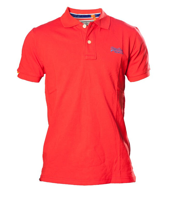 "Superdry Men's ""The Classic Polo"" Golfer In Red - Labels4Less"