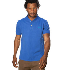 "Superdry Men's ""The Classic Polo"" Golfer In Medium Blue - Labels4Less"