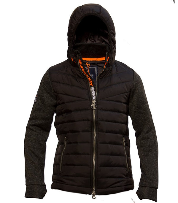 Superdry Men's Hybrid Puffer Jacket In Black - Labels4Less