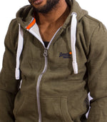 Superdry Men's Zip Up Orange Label Hoodie In Fern Green - Labels4Less
