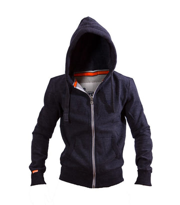 Superdry Men's Zip Up Orange Label Hoodie In Blue