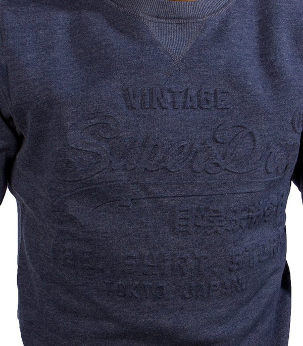 Superdry Men's Vintage Crew Neck Sweater In Navy Blue - Labels4Less