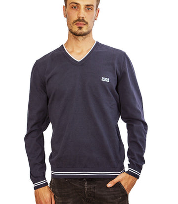 Hugo Boss Vimex V Neck Jumper In Blue