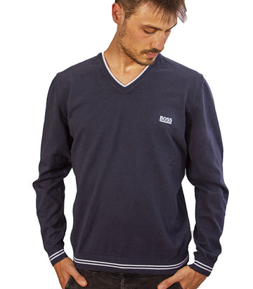 Hugo Boss Men's Vimex V Neck Jumper In Blue