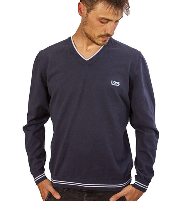 Hugo Boss Men's Vimex V Neck Jumper In Blue - Labels4Less
