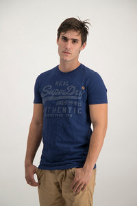 Superdry Men's Authentic Duo T-shirt Navy Grit - Labels4Less