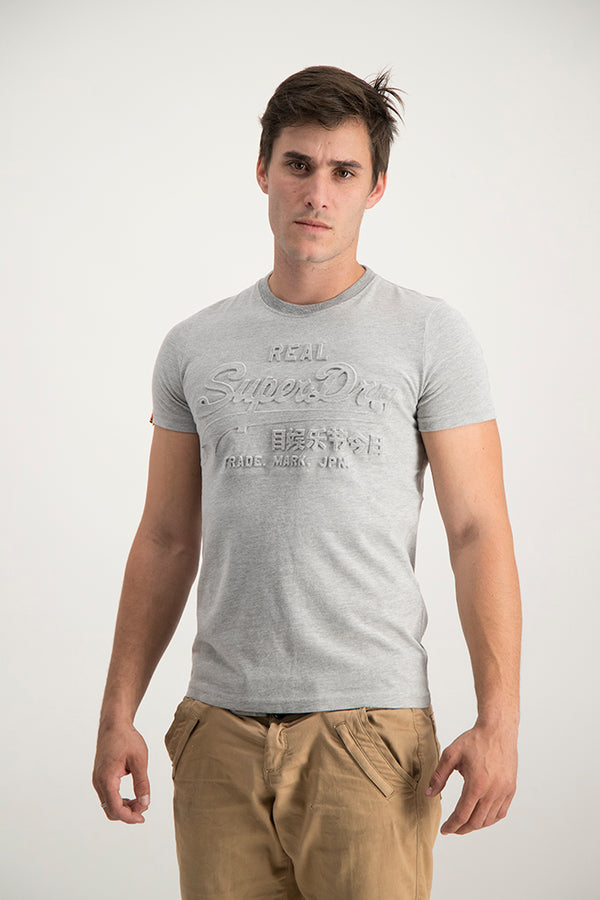 Superdry Men's Vintage Entry Emboss T-shirt Grey - Labels4Less