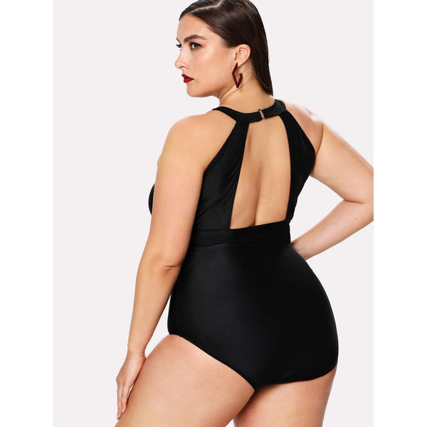 +Size Mesh High Neck One Piece