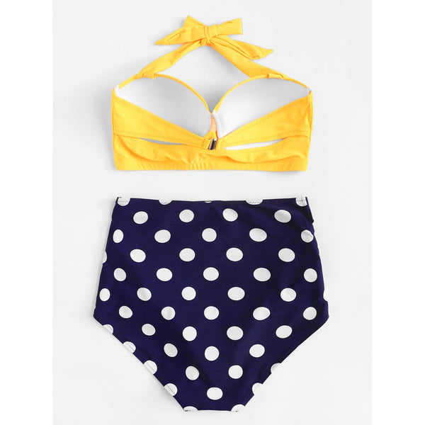 +Size Polka Dot Swimsuit