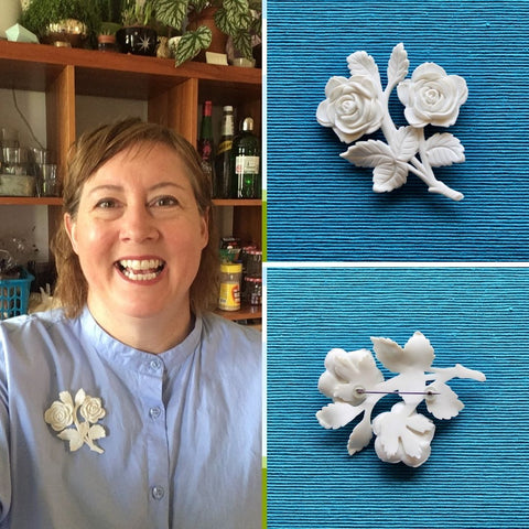 Audra wearing a 1950s white plastic brooch