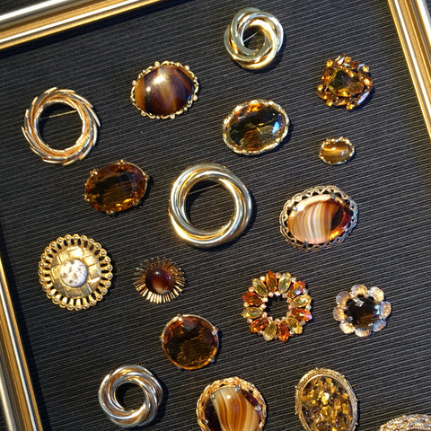 1960s vintage brooches of gold and brown