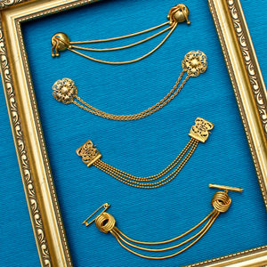 1930s Square Filigree Brass Doublet Chain Brooch
