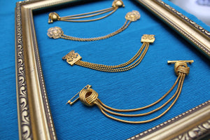 1930s Circle with Dangling Baubles Brass Doublet Chain Brooch