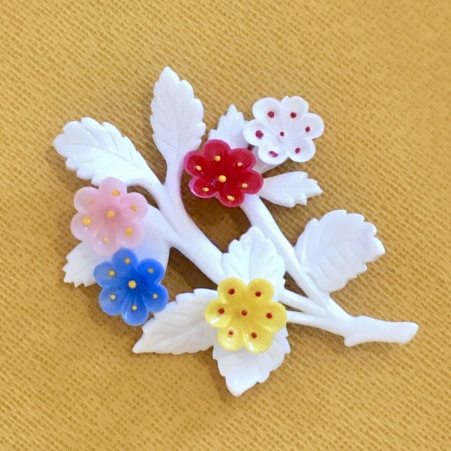 1950s Plastic Flower Spray Brooch in Blue Red Yellow