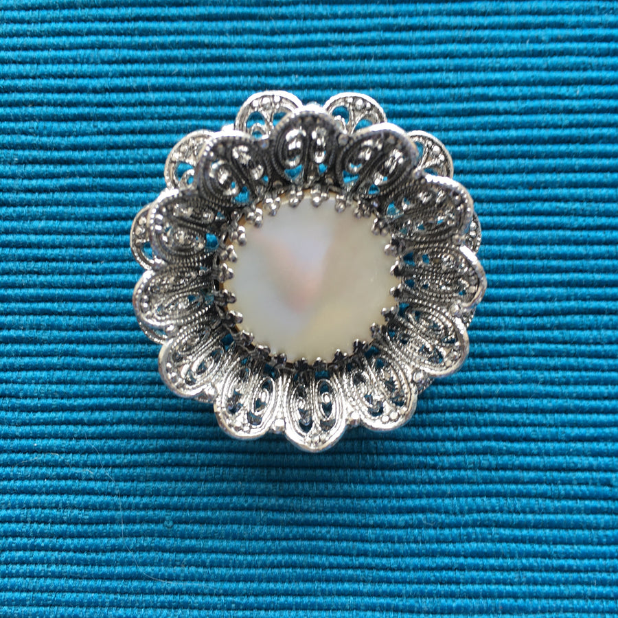 White Roses Mother of Pearl and Silver Aluminium Lace Brooch
