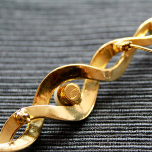 Gold and Pearls 1980s Large Gold Twist with Pearls Collar Bar Brooch Signed Sphinx