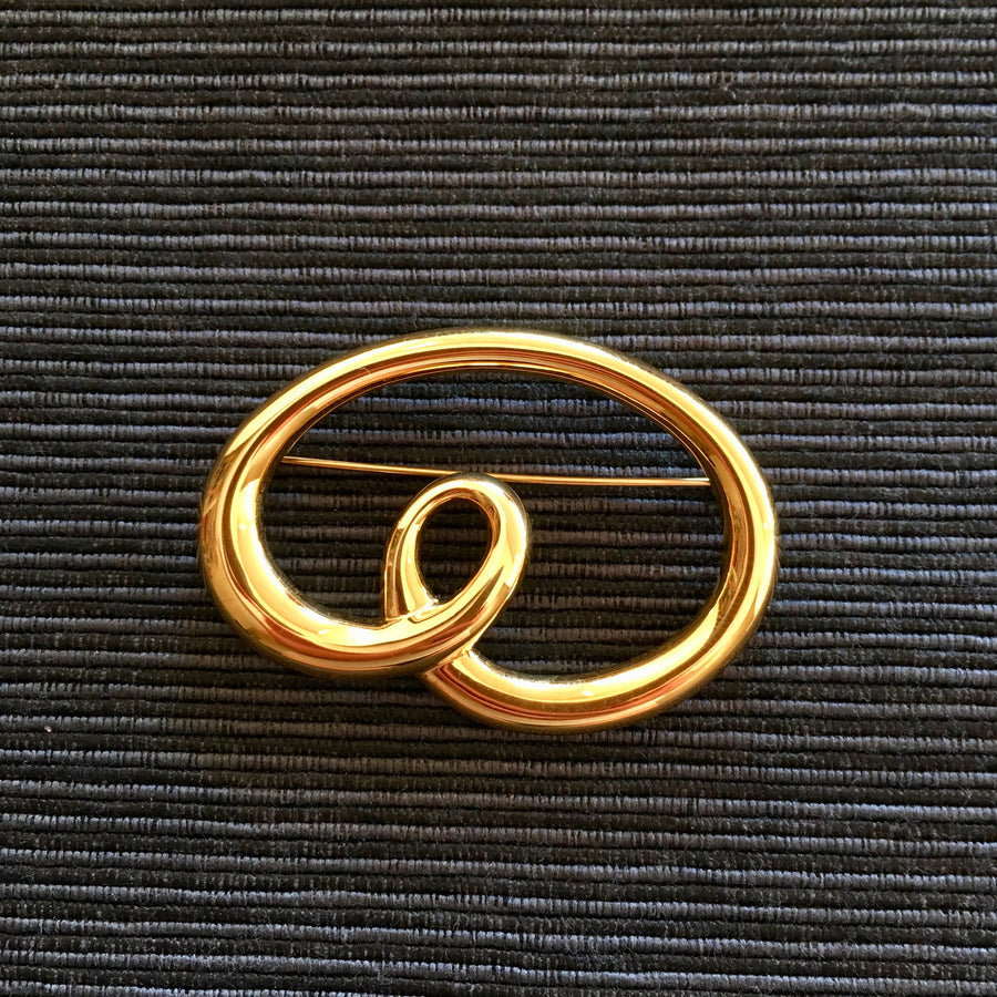 1980s Monet Gold or Silver Pretzel Brooch
