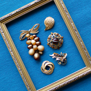 Gold Tone Vintage Brooches with Brown and Caramel Tones