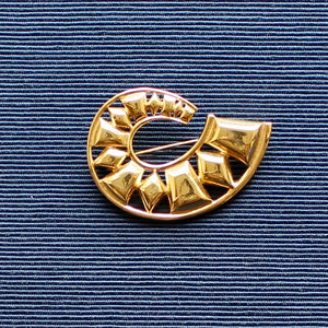 Monet Gold Swoosh Brooch
