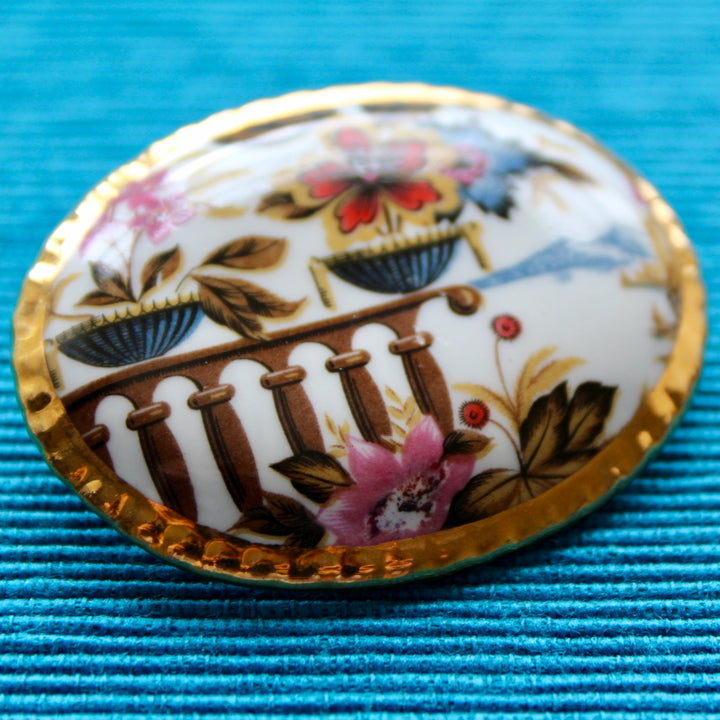 Copper Pearls Oval Porcelain Brooch of Balcony and Mountains