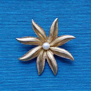 Gold and Pearls 1970s Sarah Coventry Flower Brooch with Pearl