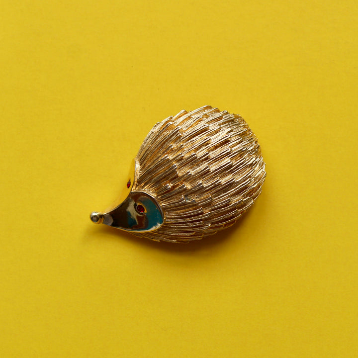 Gold Tone with Red Eyes Sarah Coventry Hedgehog Brooch