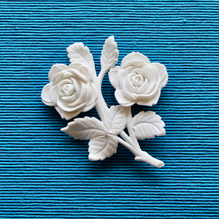 White Roses White Plastic Double Rose Brooch