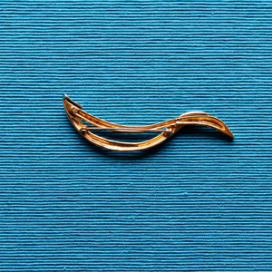 Silver Shapes Chrome and Gold Long Twist Brooch