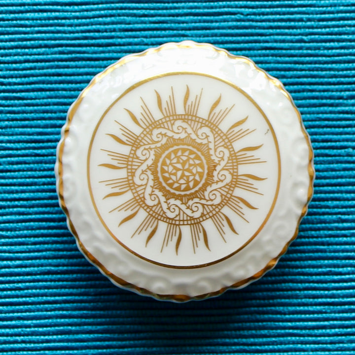 Summer Golds White and Gold Coalport Brooch