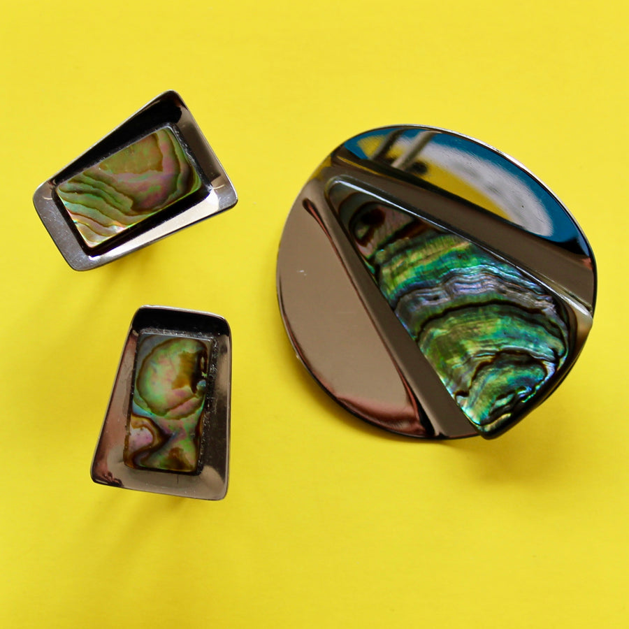Silver Shapes Circular Abalone Brooch and Cuff Links