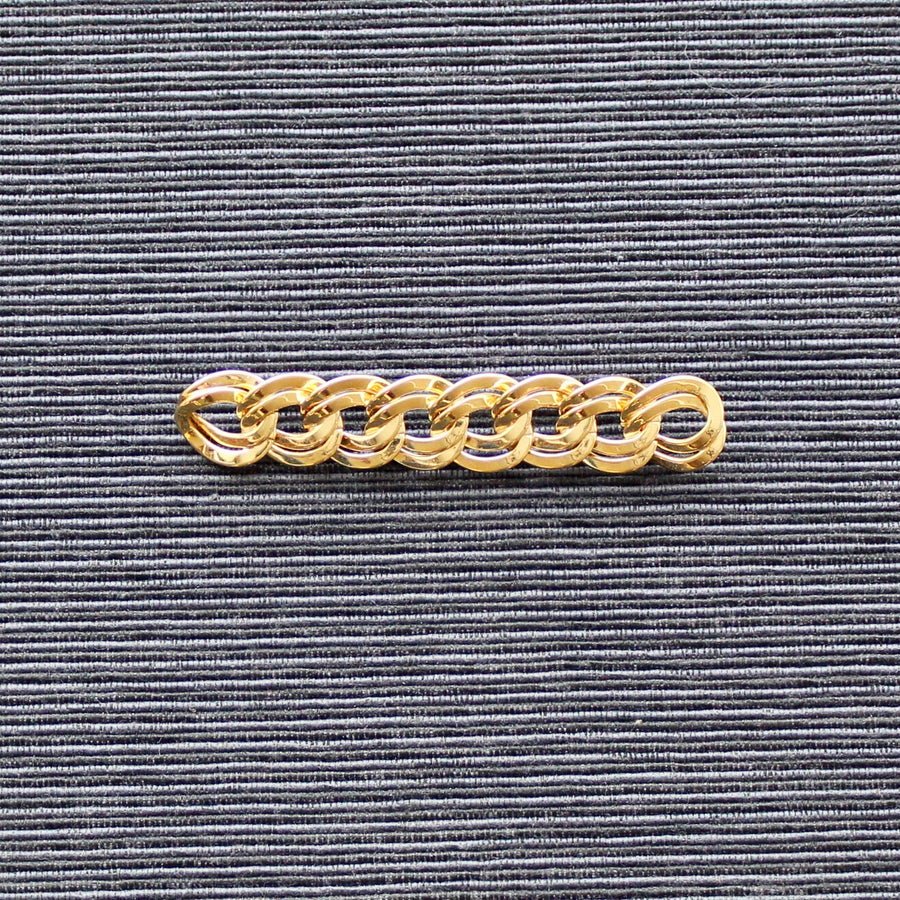 Old Hollywood Noir Gold Monet Chain Link Bar Brooch