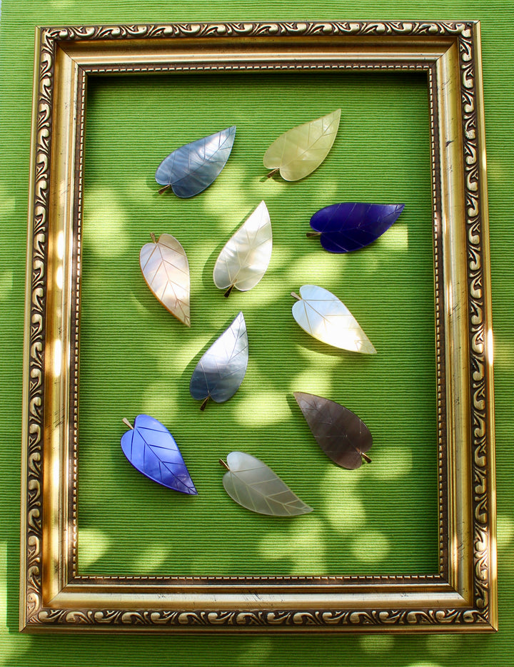 Leaf Brooch - Cream, Mother of Pearl, Yellow, Brown, Purple, Blue, and Caramel Brooches of Leaves
