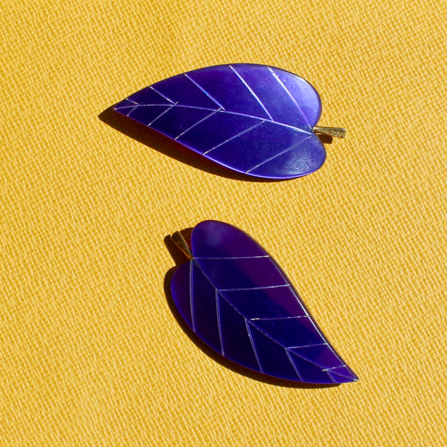 Purple 1950s Leaf Brooch
