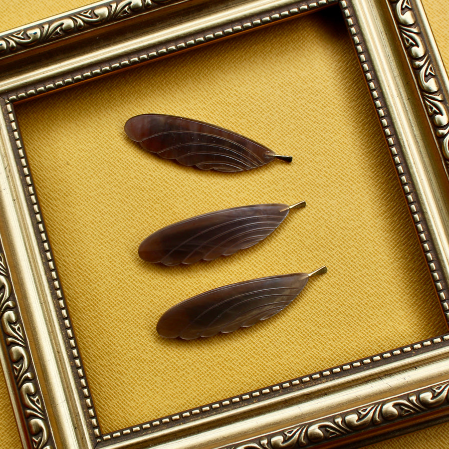 Feather Brooch - Light Brown or Taupe