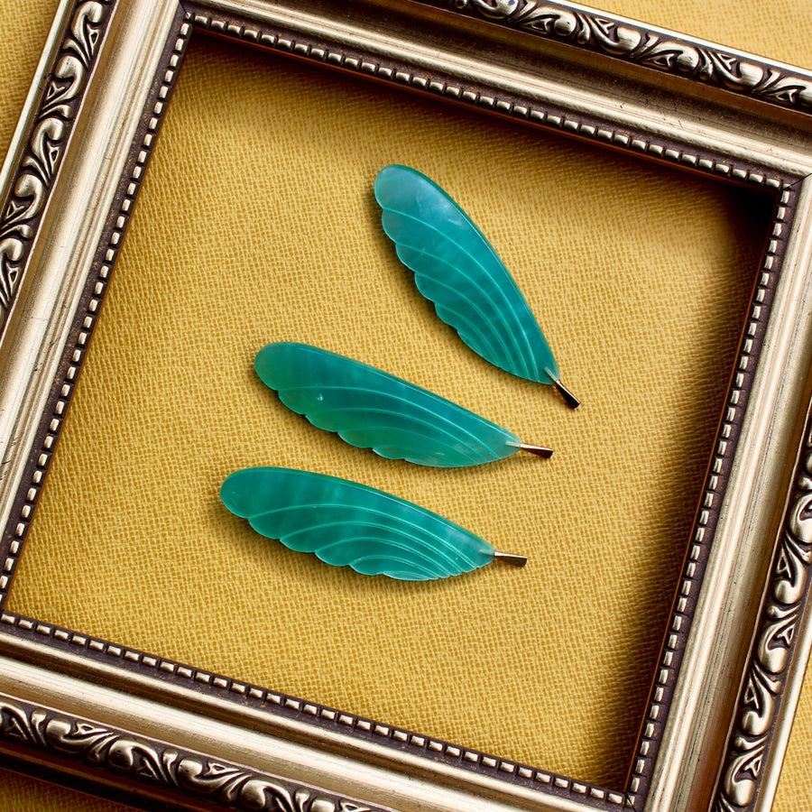 Feather Brooch - Green