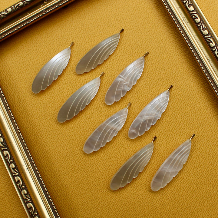 Feather Brooch - Mother of Pearl White