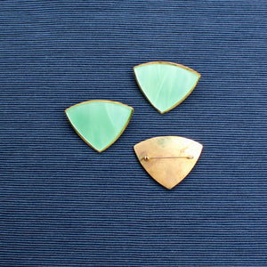 Large Green Triangle Nylon and Brass Brooch