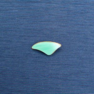 Small Green Curved Triangle Nylon and Brass Brooch