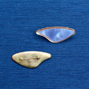 Blue Wing or Star Trek Nylon and Brass Brooch