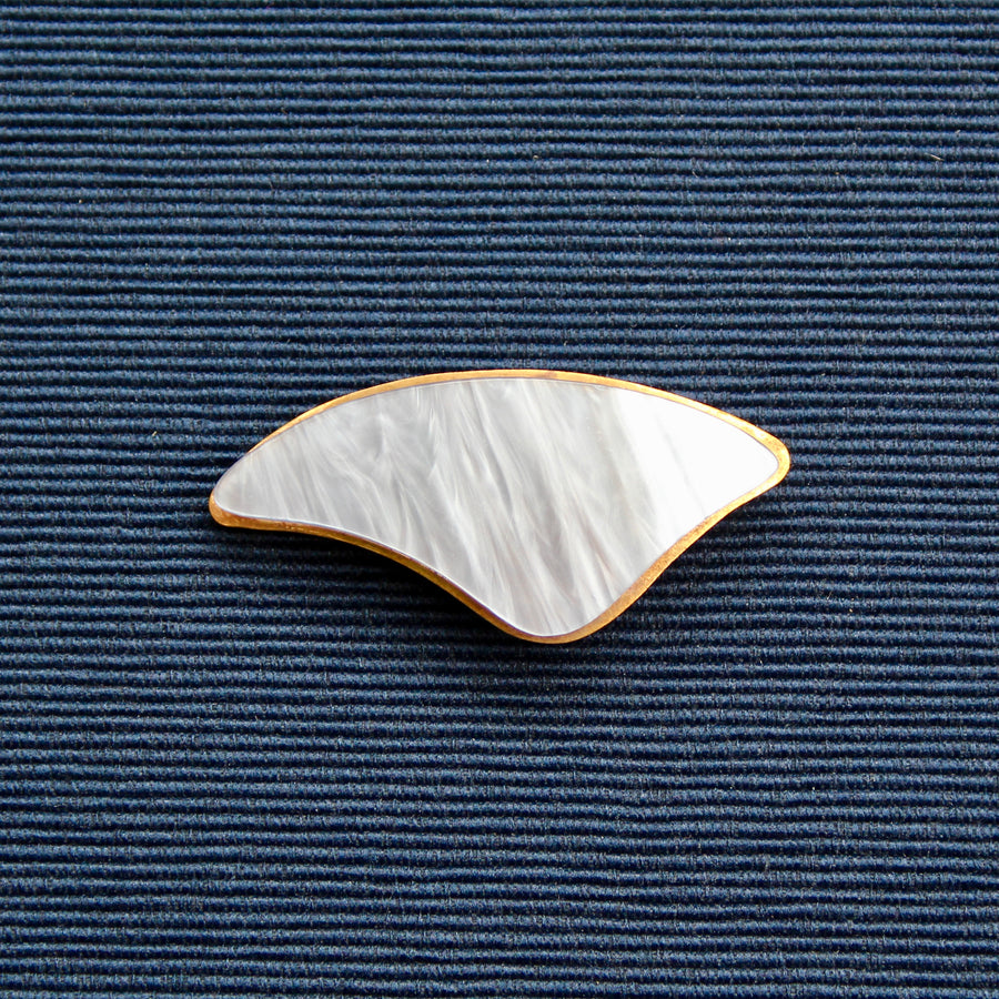 Blue Curved Nylon and Brass Brooch